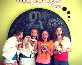 Teens enjoying tasty yogurt at Menchie's