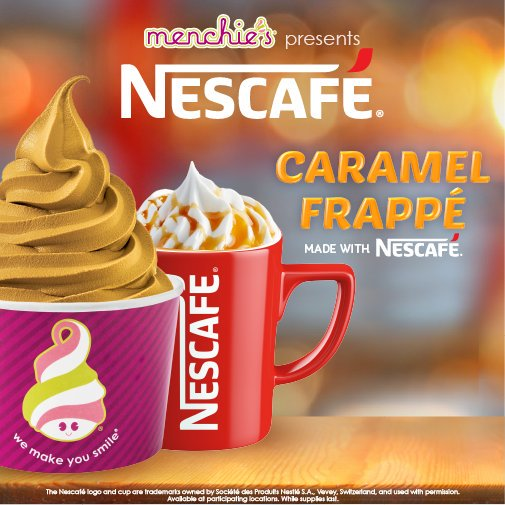 A Menchie's ad for Nescafe Caramel Frappe flavor of yogurt features a cup of Menchie's froyo and a cup of Nescafe Caramel Frappe.