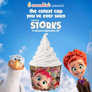 Characters from the animated movie Storks flank a cup adorned with other Storks characters.